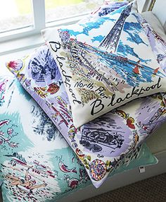 inspired by vintage souvenir scarves of seaside places