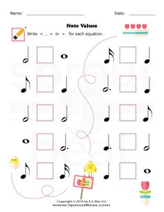 Music Worksheets – Easter – Note Value