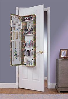 Mirrored Jewelry Organizer Over The Door Makeup Accessory Storage Container New | eBay