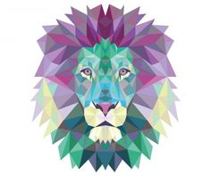 Colorful Lion Acrylic Wall Art - animal gift ideas animals and pets diy customize Lion Origami, Geometric Lion, Geometric Tattoos, Geometric Pillow, Lion Art, Acrylic Wall Art, Lion Tattoo, Tattoo Art, Vector Free