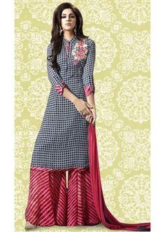 Ethnic Wear Black & Pink Georgette Palazzo Suit  - 70893