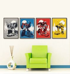 Retro Transformers Characters Set 4 Posters in A4 A3 A2 A1sizes. Fan Art Optimus Prime Jazz Bumblebee Sideswipe