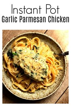 Instant Pot Garlic Parmesan Chicken–a fast and easy chicken dinner with a creamy garlic parmesan sauce with chopped spinach. We like to eat this chicken and sauce with fettuccine noodles or with mashed potatoes. #instantpot #instapot #pressurecooker #chicken