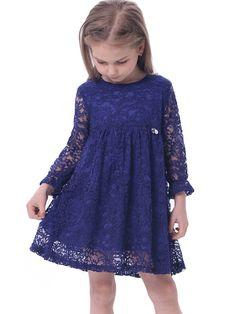 Amazon.com: Bonny Billy Girl's A-Line Long Sleeve Blue Lace Kid Dress: Clothing