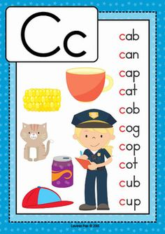 Alphabet Posters with CVC Words by Lavinia Pop Phonics Flashcards, Alphabet Phonics, Phonics Words, Phonics Worksheets, Cvc Words, Alphabet Activities, Alphabet Posters, First Grade Reading Comprehension, Phonics Reading