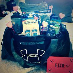 my boyfriend's valentine gift. gym bag with his necessities!