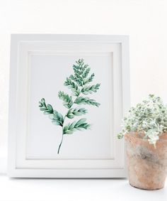 Fern digital watercolor print botanical illustration on a white background. Crazy easy to achieve a new stylish look for your modern home decor project. Hello, welcome to OnceUponPaperCo print shop creating tasteful bohemian inspired wall art prints for modern interior designs and happy homes. We love a new style incorporating organic new trends into our printable art. Affordable and simple to achieve in your home or office. Simply print your file at home or upload to an online print store…