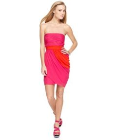 Vince Camuto Dress, Strapless Straight Ruched Draped Pleated Colorblock Mini - Womens Dresses - Macy's