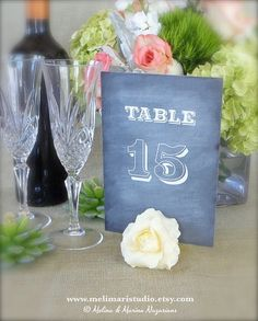 Table Number Holders  7 Handmade AirDry Clay by MeliMariStudio