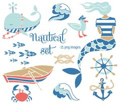 CLIP ART  - Nautical Set - for commercial and personal use