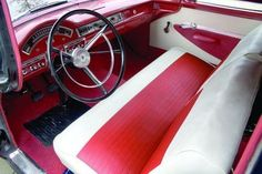 1957 Ford Del Rio Ranch Wagon. New upholstery and door panels were installed with factory-correct pattern and colors.