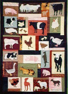 farmyard friends quilt pattern chicken cow duck rooster goat dog