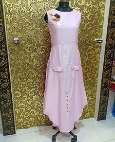 Silk Kurti with detailing Cotton Long Dress, Cotton Dresses, Kurti Patterns, Dress Patterns, Kurta Designs, Blouse Designs, Indian Designer Wear, Floral Maxi Dress, Kurtis