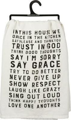 "Add a little farmhouse charm to any kitchen with our ""In This House"" dish towel…"