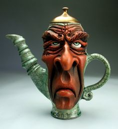 Frustrated Teapot Face Jug Raku Pottery folk art sculpture by Grafton