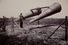 Giant listening horns used to listen for approaching aircraft during WWI.