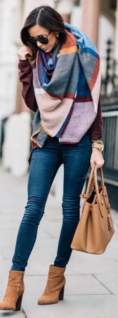 fall outfit inspiration / scarf   bag   knit sweater   skinnies   boots