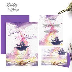 Aladdin and Jasmine Wedding Invitation- Printable disney-themed wedding card Modern Wedding Invitation Wording, Disney Wedding Invitations, Traditional Wedding Invitations, Wedding Invitation Samples, Watercolor Wedding Invitations, Aladdin Wedding, Invitation Card Format, Hindu Wedding Cards, Wedding Stuff