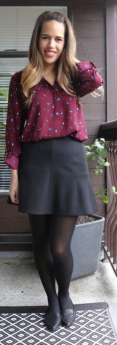 Jules in Flats - Dynamite Blouse, J.Crew Skirt
