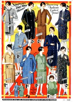 1928 Womens Day Dresses - 1920s Simpons  catalog for Fall and Winter clothing http://www.vintagedancer.com/1920s/1920s-day-house-dresses-aprons/