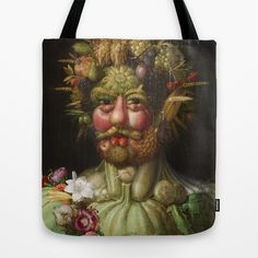Be a walking museum when you wear this tote bag featuring Italian Renaissance painter Guiseppe Arcimboldo's  portrait of the Holy Roman Emperor Rudolf II.  Arcimboldo painted Rudolf II in the likeness of Vertumnus, the Roman god of metamorphoses, and did so using the shapes of fruit.