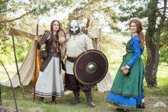 """Viking Linen Apron """"Ingrid the Hearthkeeper"""" viking tunic, viking dress, leather women armor"""