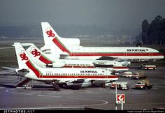 "TAP Air Portugal [top to bottom] - Lockheed L-1011-385 CS-TEB c/n 293B-1240 - Boeing 727-82 CS-TBL c/n 19405/398 - Boeing 737- 282 CS-TEM c/n 23043 -  Oporto Francisco Sá Carneiro Airport Portugal March 1980 Photo by: Carlos Miguel Seabra ""Picture scanned from a slide of my friend Pedro Prata. Many many thanks to him and also to my friend Rafael Vieira."" Commercial Plane, Commercial Aircraft, Boeing 727, Civil Aviation, World Pictures, Spain And Portugal, Air Travel, Military Aircraft, Lisbon"