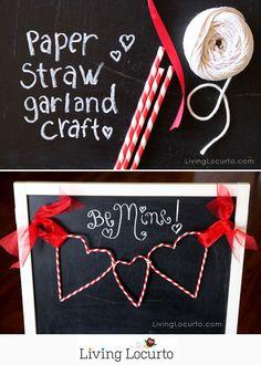 Paper Straw Heart Garland - Cute Valentines Day DIY Craft Tutorial. http://LivingLocurto.com
