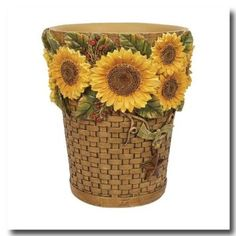 Sunflowers Wastebasket. Wastebasket From Sunflowers By Linda Spivey Bathroom  Accessories Collection. Wastebasket Size: