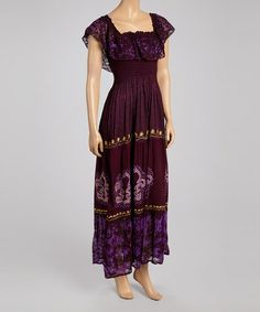 Another great find on #zulily! Purple & Gold Abstract Smocked Maxi Dress #zulilyfinds