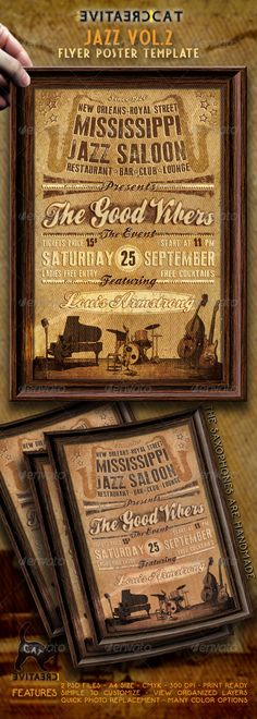 Jazz Flyer/Poster VOL.2 — Photoshop PSD #club #invitation • Available here → https://graphicriver.net/item/jazz-flyerposter-vol2/4627727?ref=pxcr