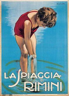 Rimini beach poster by Alberto Bianchi, 1925 | BALNEA