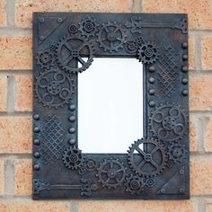 Steampunk mirror  now available on my website. #steampunk #steampunkdecor #steampunkart #steampunkhome #mixedmedia #andyskinner #steampunkstyle #rusteffect
