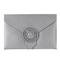 grey silk clutch bag finished with a round crystal brooch Envelope Clutch, Clutch Bag, Lyon, Glitter Fabric, Crystal Brooch, Modern Prints, Leather Material, Silk Fabric, Bags