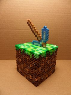 Perler Minecraft Dirt Block Coin Bank Cube with pickaxe by Perlerhiro