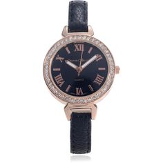 Journee Collection Rhinestone Roman Numeral Leather Strap Watch ($30) ❤ liked on Polyvore featuring jewelry, watches, black, wrap watches, snap jewelry, wrap around watches, rhinestone watches and water resistant watches