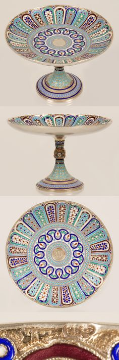 A Russian silver gilt and cloisonne enamel tazza by Antip Kizmichev, Moscow, Circa 1890. The shallow circular bowl decorated in a variety of alternating floral petal motifs around a center scroll and bead medallion, raised on a knopped stem and flaring circular foot with additional enamel decoration.