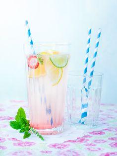 homemade lemonade paperstraws flowers fruits summer mint selfmade