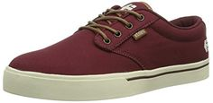Etnies Men's Jameson 2 Eco Skate Shoe,Burgundy/White,13 M US - http://shop.dailyskatetube.com/?post_type=product&p=899 -  Push your big bamboo board with the vegan-friendly etnies Jameson 2 Eco Skate Shoe when you wish to have to cross the city but do not feel like pouring pounds of exhaust into the growing smog cloud. Fight the earth-strangling machine while you get this vegan-approved textile low-top. Unlike your -