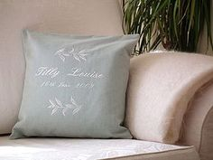 Personalised Embroidered Leaf Cushion - cushions
