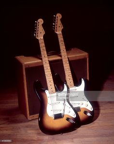 Two Fender Stratocaster Guitars photographed in a studio in Chicago, Illinois, September 15, 1995. Stratocaster Guitar, Chicago Illinois, Rigs, Guitars, Instruments, September, Studio, Wedges, Studios
