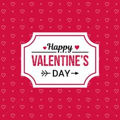 Happy Valentines day card with pink heart vector on red background pattern stock photo (c) karetniy (#8371007) | Stockfresh