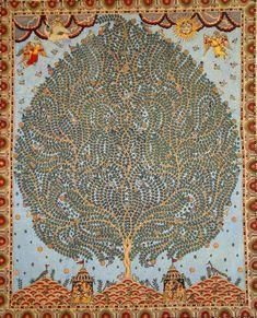 Block Print Fabrics - Kalamkari Cotton – DesiCrafts. Tree of Life – Hand painted Kalamkari Motif from Gujarat, India. Image source: rusticjewels.wordpress. blog