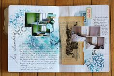 journal: stencils, handwriting, torn paper