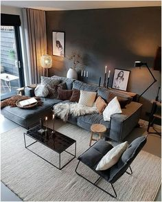 Design Living Room, Cozy Living Rooms, Living Room Grey, Home Living Room, Apartment Living, Living Room Furniture, Modern Furniture, Brown Furniture, Furniture Design