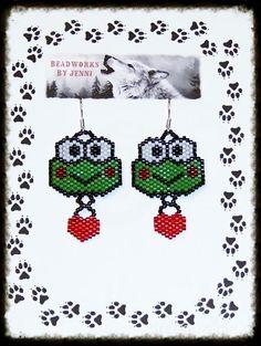 Native American Beaded Keroppi w/ heart Earrings  $20.00 plus shipping