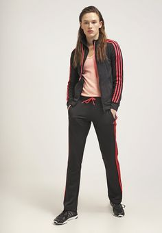Adidas shoes Outlet womens adidas Performance ESSENTIALS - Tracksuit - black/shock red, Fashion