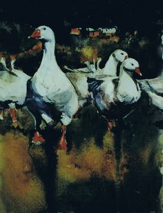 Brian Baxter: Geese on a Breezy Day Birds, Painting, Art, Art Background, Bird, Painting Art, Paintings, Kunst, Drawings