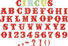 """Circus embroidery font is perfect for all of your """"under the big top"""" Circus and Western themed projects. Featuring bold letters that really stand out on t-shirts and projects."""