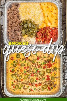 Smoked Queso Dip - a kicked up version of your favorite cheese dip with TONS of great flavor. Creamy cheese dip loaded with sausage, spicy jalapeños, and a delicious smoky flavor from cooking on the grill. Great dip for cookouts, camping, parties, and tailgating in the Fall. #dip #velveeta #queso #traeger #biggreenegg #smoked
